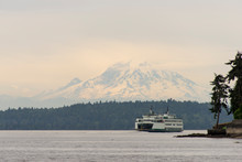 Usa, Washington State, Puget Sound. Seattle-Bremerton Ferry With Mt. Rainier Cloudy Day