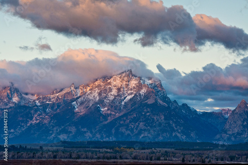 Autumn Sunrise, Alpenglow, Cunningham Cabin Area, Grand Tetons, Grand Teton Nati Canvas Print
