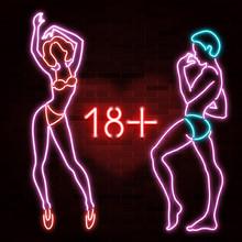 18  Banner With Neon Silhouett...