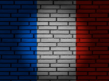 France Flag Brick Wall
