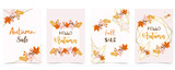 Fototapeta Kwiaty - Collection of autumn background set with gold geometric,leaves,flower,wreath.Vector illustration for invitation,postcard and sticker.Editable element