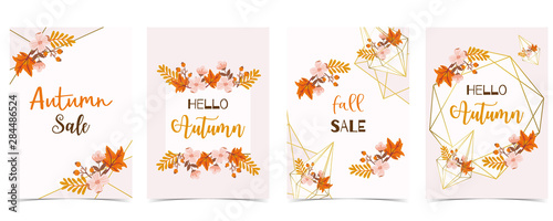 Fototapeta Collection of autumn background set with gold geometric,leaves,flower,wreath.Vector illustration for invitation,postcard and sticker.Editable element obraz