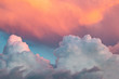 canvas print picture - pink clouds at sunset against a blue sky