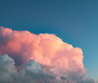 Leinwandbild Motiv pink clouds at sunset against a blue sky