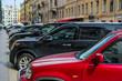 Saint-Petrsburg, Russia - August, 14, 2019: cars parking on the street in a center of Saint-Petrsburg, Russia