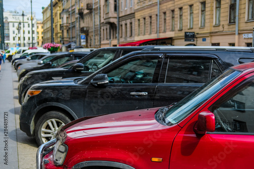 Aluminium Prints Old cars Saint-Petrsburg, Russia - August, 14, 2019: cars parking on the street in a center of Saint-Petrsburg, Russia
