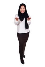 Muslim Woman Shows Empty Hands, Open Palm With Copy Space. Choose Left Or Right Concept