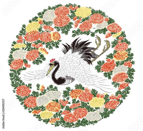 Canvas Print 浮世絵 窪俊満 菊に鶴
