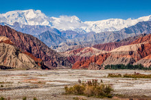 Red Mountains Alongside The Karakoram Highway Near The Kashgar City In The China