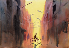 Bicycle City Scene Watercolor Illustration Hand Drawn