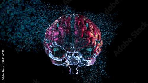 Fotografie, Obraz  Big data brain informational binary particles understanding complex information