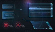 HUD, UI, GUI Futuristic Frame User Interface Screen Elements Set. Set With Call Outs Communication. Abstract Control Panel Layout Design. Virtual Hi Scifi Technology Gadget Interface For Game App
