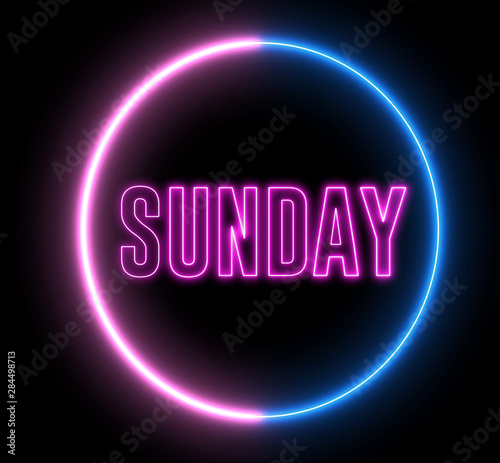 """Neon text of """"SUNDAY"""" inside neon, led swirling round"""