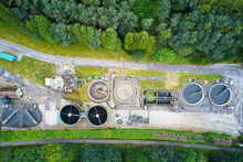 Sewage Water Works Treatment Plant Aerial View From Above Showing Waste Quality Control Tanks