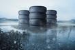 Leinwanddruck Bild - Autoreifen Stapel auf nasser Fahrbahn