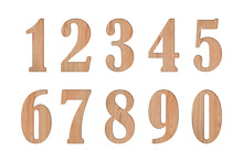 Set Of Number 0 Through 9 In Shape From Wood On White Background