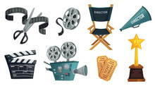 Cartoon Cinema Video Camera, Movie Clapper Board And Directors Megaphone. Film Director Chair, Tv Camera, Cinematography Prize And Ticket. Isolated Vector Set