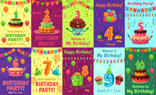 Cartoon Anniversary Greeting Card. Birthday Numbers, Celebration Invitation And Party Cake Number Candles Poster. Birth Greeting Or Invitation Postcard Colorful, Celebration Cards Vector Set