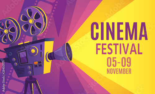 Fototapeta Cinema festival poster. Film billboard, retro movie camera and cinema projector. Cinematography festival flyers, filming events ticket or film entertainment banner cartoon vector illustration obraz