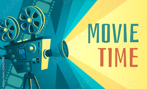 Movie Time Poster Vintage Cinema Film Projector Home Movie Theater And Retro Camera Cinematography Entertainment Equipment Movies Production Festival Banner Vector Illustration Buy This Stock Vector And Explore Similar Vectors At