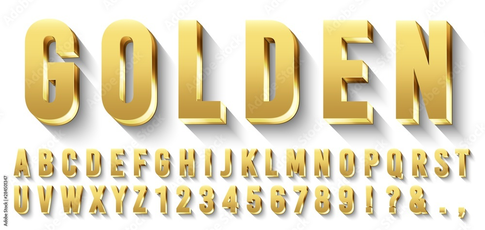 Fototapeta Golden 3D font. Metallic gold letters, luxury typeface and golds alphabet with shadows. Elegancy font abc and numbers, golden rich royal vip type letter. Isolated vector symbols set