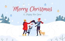 Family Making Snowman Holiday Card. Merry Christmas And Happy New Year, 2020 Winter Holidays. People Character With Pet Make Xmas Snowman, Outdoor Teamwork Postcard Vector Illustration