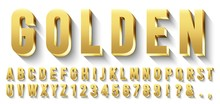 Golden 3D Font. Metallic Gold ...