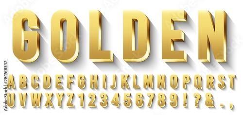 Golden 3D font Wallpaper Mural