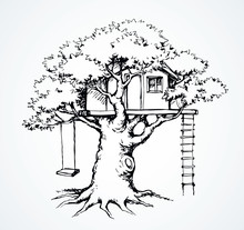 Wooden Tree House. Vector Draw...