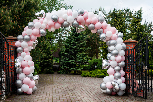 Wedding arch made of colorfull inflatable balloons Canvas Print