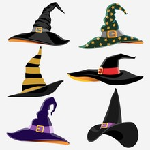 Design Elements For Halloween. Halloween Symbol. Witch Hat. Hats Of The Wizard. Flat Vector Illustration.