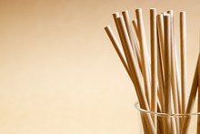 Brown Paper Straws In Glass