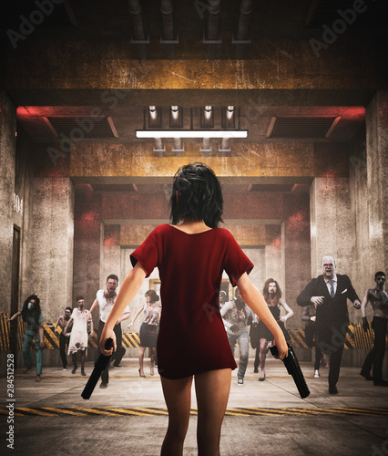 Survivor's girl with pistols fighting with zombies in restricted area,3d illustr Fototapet
