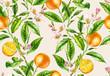 Leinwandbild Motiv Orange fruit branches. Seamless pattern with flowers realistic botanical floral illustration on light beige background hand painted