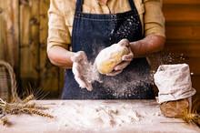 Women's Hands, Flour And Dough...