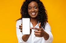 Happy Black Woman Holding Latest Slim Smartphone