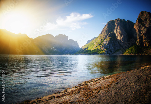Vieux rose sunset over the mountains and the sea of Lofoten islands in Norway