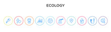 Ecology Concept 10 Outline Colorful Icons