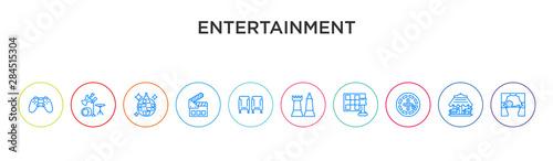 Carta da parati entertainment concept 10 outline colorful icons