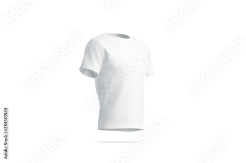 Obraz Blank white clean t-shirt mockup, isolated, side view, 3d rendering. Empty sport outfit mock up. Clear fabric cloth for soccer. Unisex tshirt model for logotype print template. - fototapety do salonu