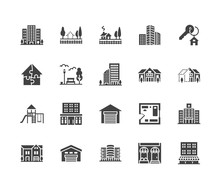 Real Estate Flat Glyph Icons S...