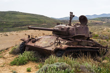 Abandoned Old Rusty Tank On The Dunes Of Lemnos Island, Greece