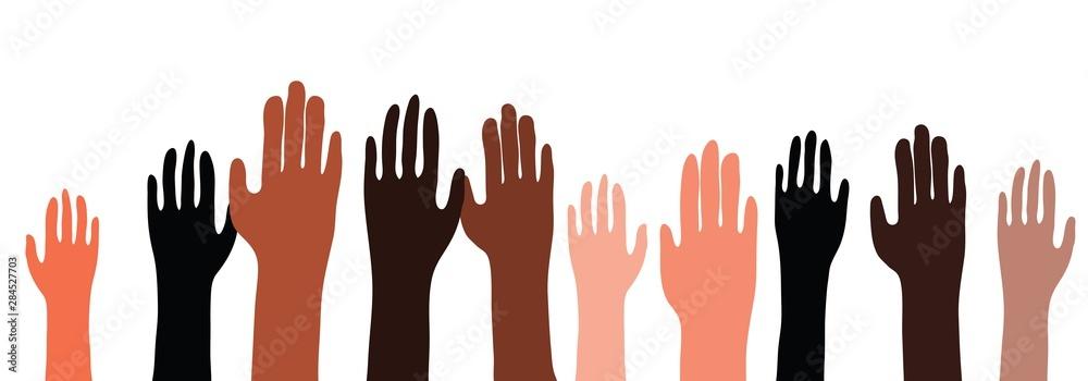 Fototapeta Illustration of multiethnic, multicultural hands raised up. Pattern is seamless horizontally.