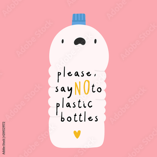 Say NO to plastic Bottles - vector illustration Canvas Print