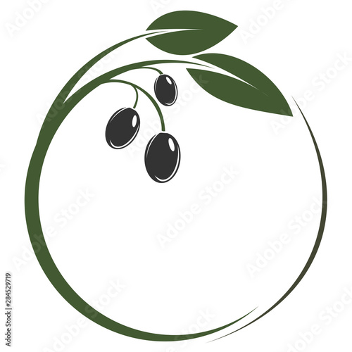 round green olive branch logo or symbol vector illustration Wall mural