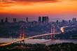 Leinwanddruck Bild - Bosphorus Bridge and Cityscape of Istanbul