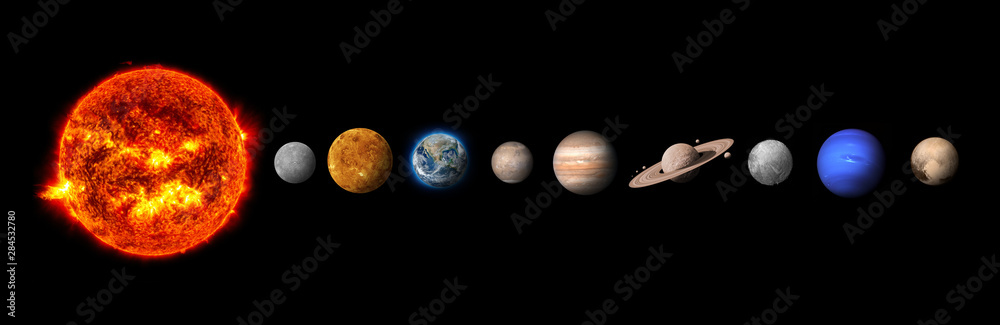 Fototapety, obrazy: The solar system consists of the Sun, Mercury, Venus, Earth, Mars, Jupiter, Saturn, Uranut, Neptune, Pluto.Elements of this image furnished by NASA