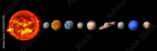 The solar system consists of the Sun, Mercury, Venus, Earth, Mars, Jupiter, Saturn, Uranut, Neptune, Pluto.Elements of this image furnished by NASA - 284532780