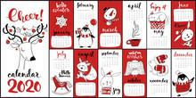 Vector Cartoon 2020 Calendar With Christmas Symbols In Red Color