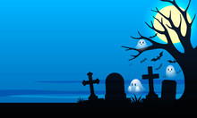 Scary Cemetery With Graves And...